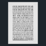 """Our Deepest Fear by Marianne Williamson (all optio Poster<br><div class=""""desc"""">Typographic representation of famous Marianne Williamson poem.</div>"""