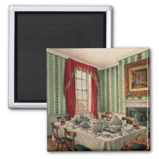Our Dining Room at York, 1838 2 Inch Square Magnet