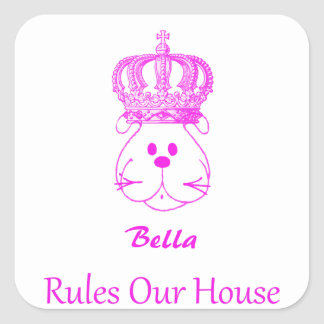 Our Dog Rules Our House Square Sticker