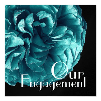 Our Engagement - Elegant Turquoise Blue Rose Card