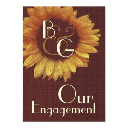 Our Engagement - Gold Sunflower Invite