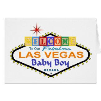 Our Fabulous Las Vegas Baby Boy Announcement Card