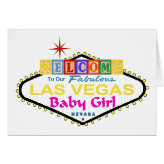Our Fabulous Las Vegas Baby Girl Announcement Card