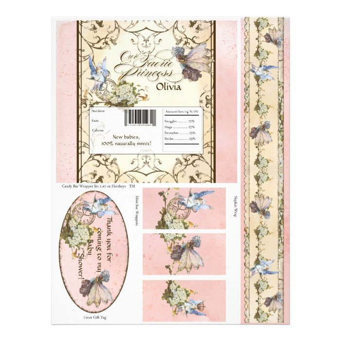 Our Faerie Princess, Baby Shower Candy Wrappers Flyer