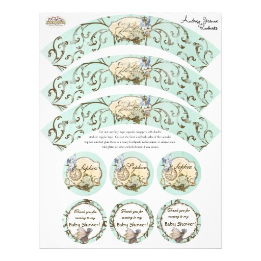 Our Faerie Princess, Baby Shower Cupcake Wrapper Personalized Flyer