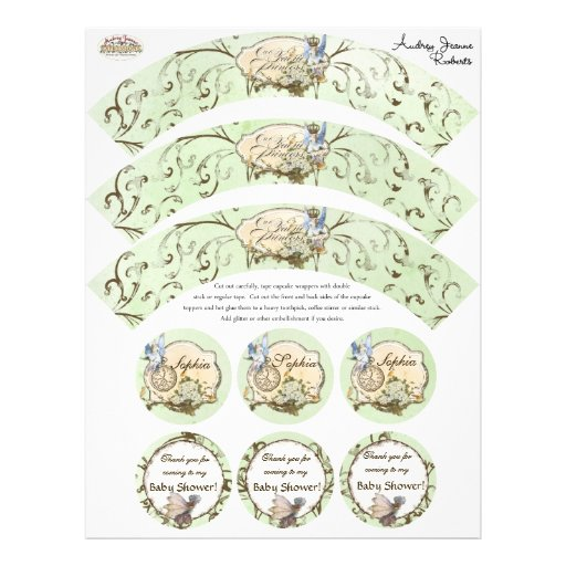 Our Faerie Princess, Baby Shower Cupcake Wrapper Flyer