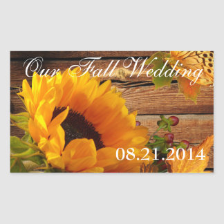 Our Fall Wedding Stickers Rect Country Sunflower