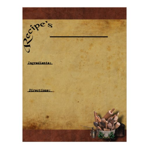 Our Family Favorites-2- Recipe Page Inserts Personalized Letterhead