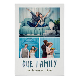 Our Family   Modern Three Photo Grid Poster
