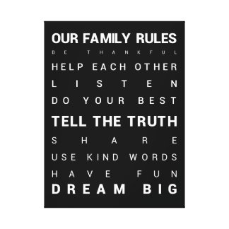 "Our Family Rules - 18"" x 24"" Canvas Print"