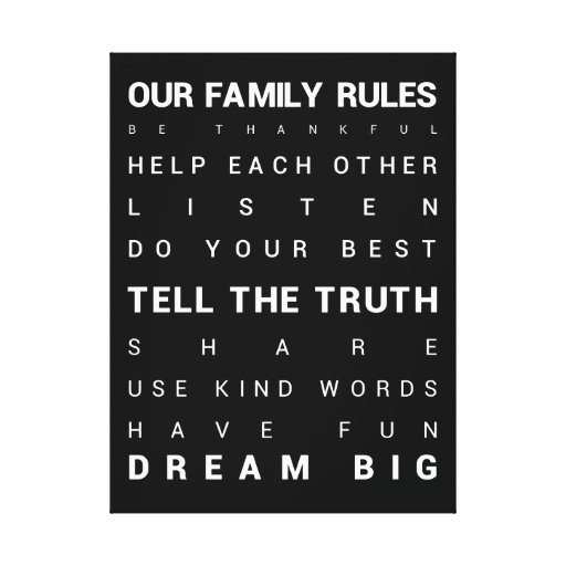 "Our Family Rules - 18"" x 24"" Gallery Wrap Canvas"