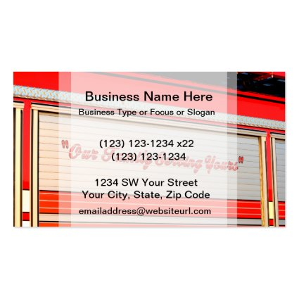 our family serving yours on firetruck door. business cards