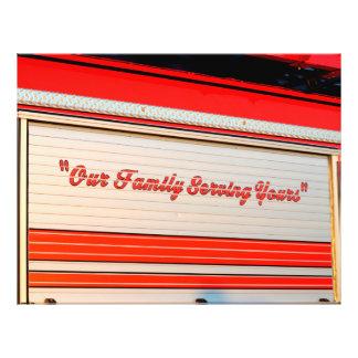 our family serving yours on firetruck door. custom flyer