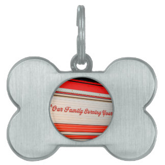 our family serving yours on firetruck door. pet name tag