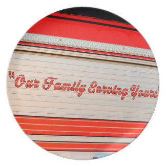 our family serving yours on firetruck door. party plate