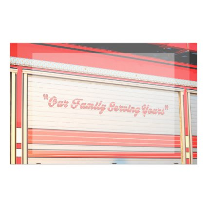 our family serving yours on firetruck door. customized stationery