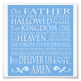'Our Father' Prayer, blue shade Photo Print