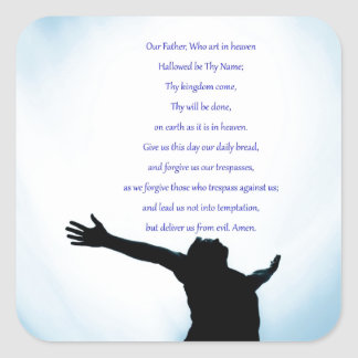Our father prayer the classical healing love square sticker