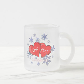 Our First Christmas 10 Oz Frosted Glass Coffee Mug