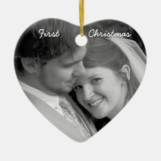 Our First Christmas Aged Parchment Photo Ornament