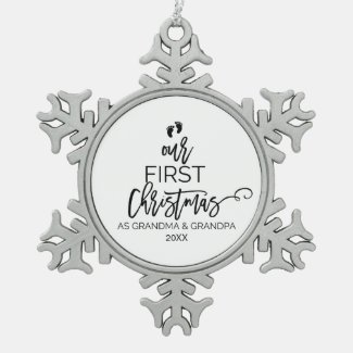 Our First Christmas as Grandma and Grandpa Holiday Snowflake Pewter Christmas Ornament