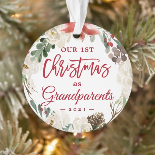 Our First Christmas as Grandparents Floral Photo Ornament
