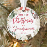 "Our First Christmas as Grandparents Floral Photo Ornament<br><div class=""desc"">Celebrate your First Christmas as Grandparents with this Poinsettia Floral Wreath Photo Ornament. Adding a favorite photo and text to this graceful design for a festive accent to your Christmas tree. It's easy to personalize to be uniquely yours. (1) For further customization, please click the ""customize further"" link and use...</div>"