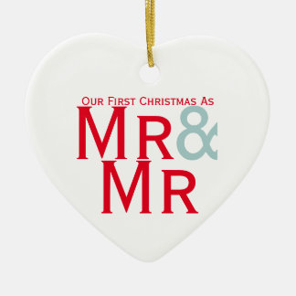 Our First Christmas as Mr and Mr Gay Themed Double-Sided Heart Ceramic Christmas Ornament
