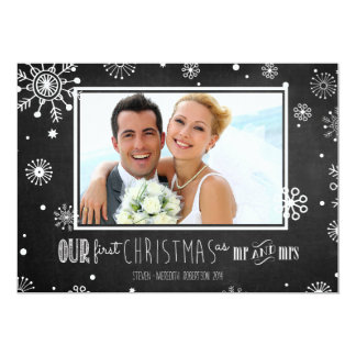 """Our First Christmas as Mr and Mrs Chalkboard Card 5"""" X 7"""" Invitation Card"""