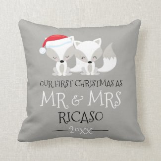 Our First Christmas As Mr and Mrs - Fox Themed Throw Pillow