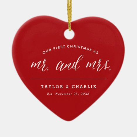 Our First Christmas As Mr And Mrs Holiday Photo Ceramic Ornament