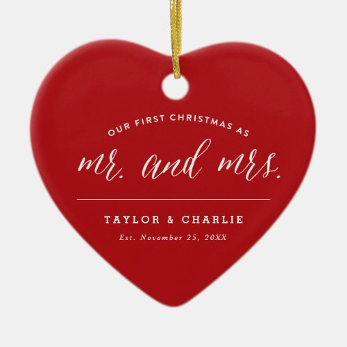 Our First Christmas As Mr And Mrs Photo Wedding Ceramic Ornament