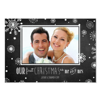 """Our First Christmas as Mr and Mrs Snowflake Card 3.5"""" X 5"""" Invitation Card"""