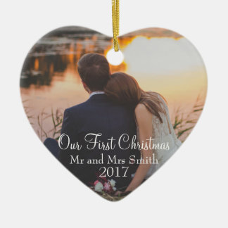 """Our First Christmas"" as Mr & Mrs (Customisable) Ceramic Ornament"