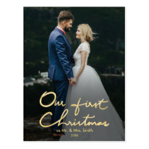 Our First Christmas as Mr & Mrs   Faux Gold Photo Postcard