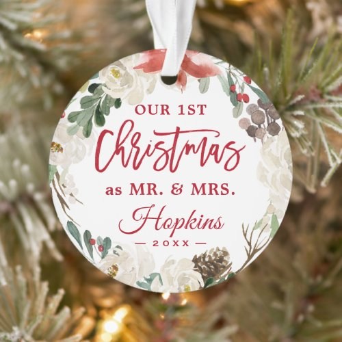 Our First Christmas as Mr Mrs Floral Wreath Photo Ornament