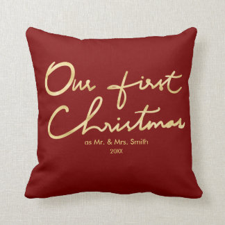 Our First Christmas as Mr. & Mrs. | For Newlyweds Throw Pillow