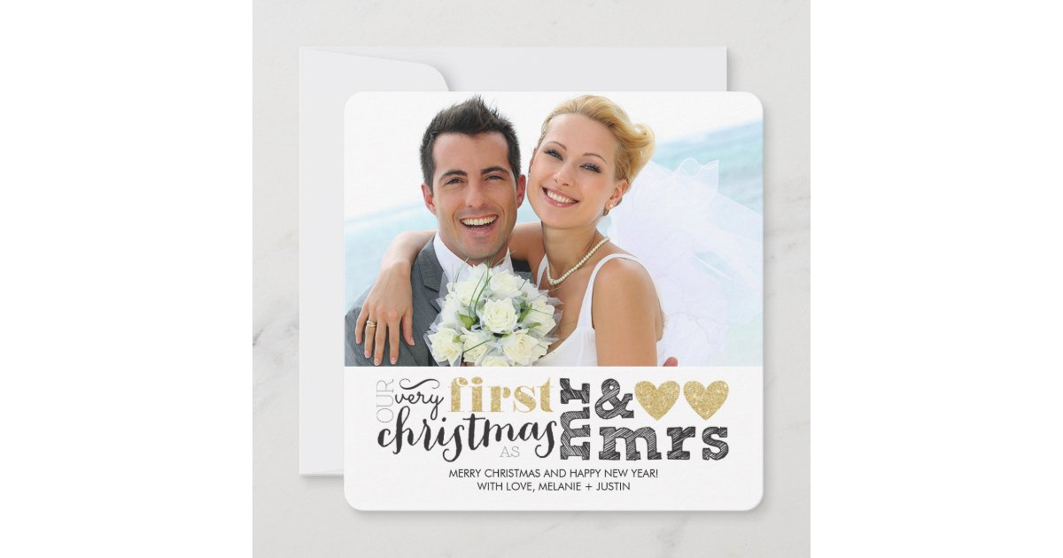 Our First Christmas as Mr & Mrs Gold Holiday Card | Zazzle.com