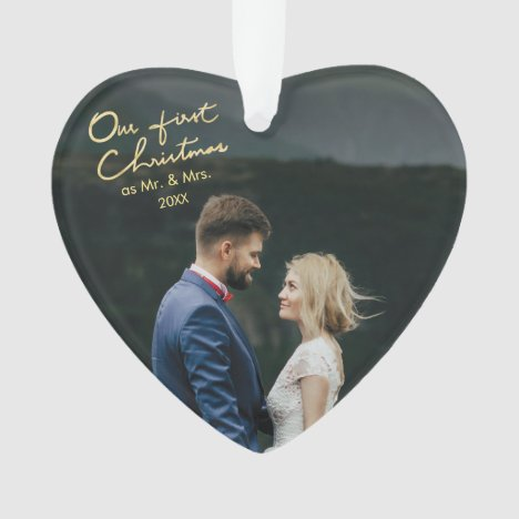 Our First Christmas as Mr & Mrs Heart Shaped Xmas Ornament