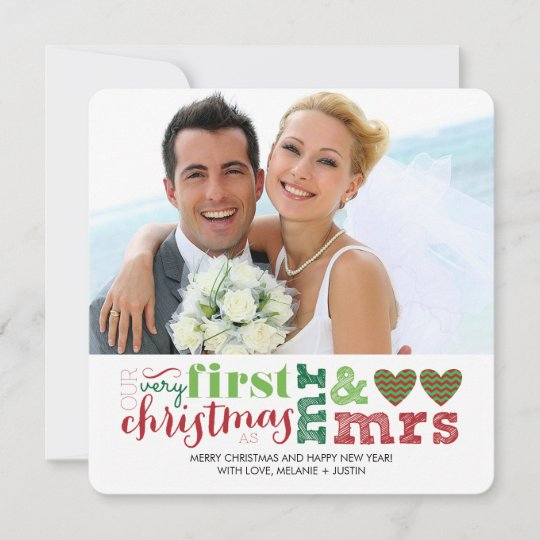 Our First Christmas As Mr Mrs Holiday Card Zazzle Com