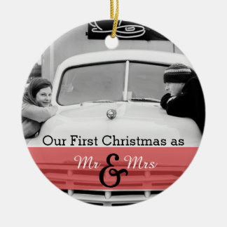 Our First Christmas as Mr & Mrs Holiday Ornament Christmas Tree Ornaments