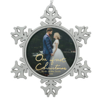 Our First Christmas as Mr. & Mrs. | Keepsake Photo Snowflake Pewter Christmas Ornament