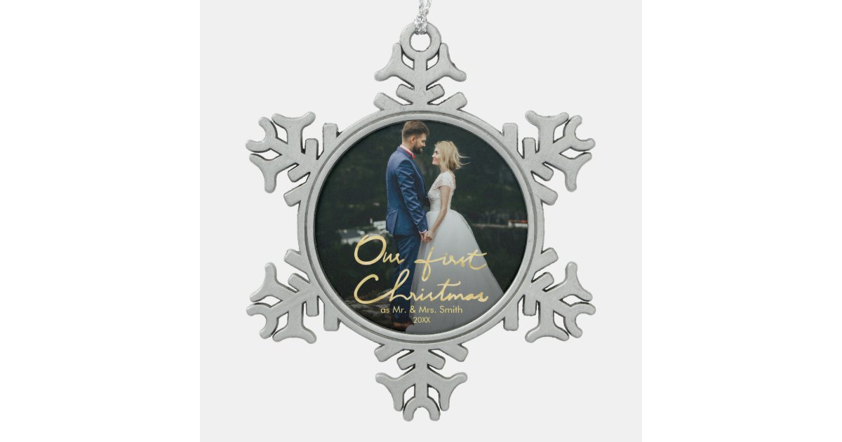 Our First Christmas as Mr. & Mrs. | Keepsake Photo Snowflake Pewter ...