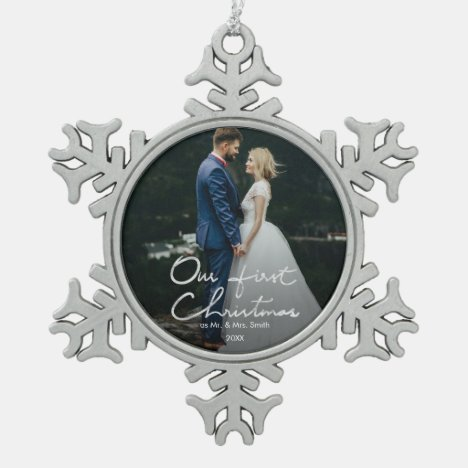 Our First Christmas as Mr. & Mrs. Keepsake Photo Snowflake Pewter Christmas Ornament
