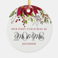 Our First Christmas As Mr. & Mrs. Newlyweds Ceramic Ornament