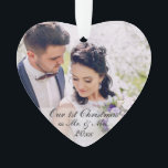 """Our First Christmas as Mr. &amp; Mrs. Photo Ornament W<br><div class=""""desc"""">Our First Christmas as Mr. &amp; Mrs. Newlywed Wedding Photo Ornament White Ribbon Silver Holiday back</div>"""