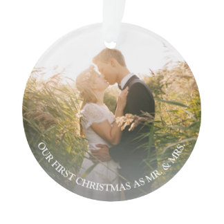 Our first Christmas as Mr. & Mrs. wedding photo Ornament