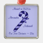 """""""Our First Christmas"""" - Blue Candy Cane [b] Christmas Tree Ornament"""