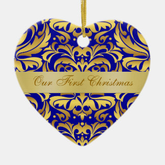 Our First Christmas Blue Gold Damask Ornament