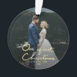"Our First Christmas Chic Hand-Lettered Christmas Ornament<br><div class=""desc"">A chic Xmas gift for newlyweds. Send out this beautiful photo Christmas ornament to newlyweds to commemorate their wedding, for their first Christmas as a married couple. The ornament features &quot;Our First Christmas&quot; in a beautifully hand-lettered faux gold font with space for one photo. Personalize the ornament by replacing the...</div>"